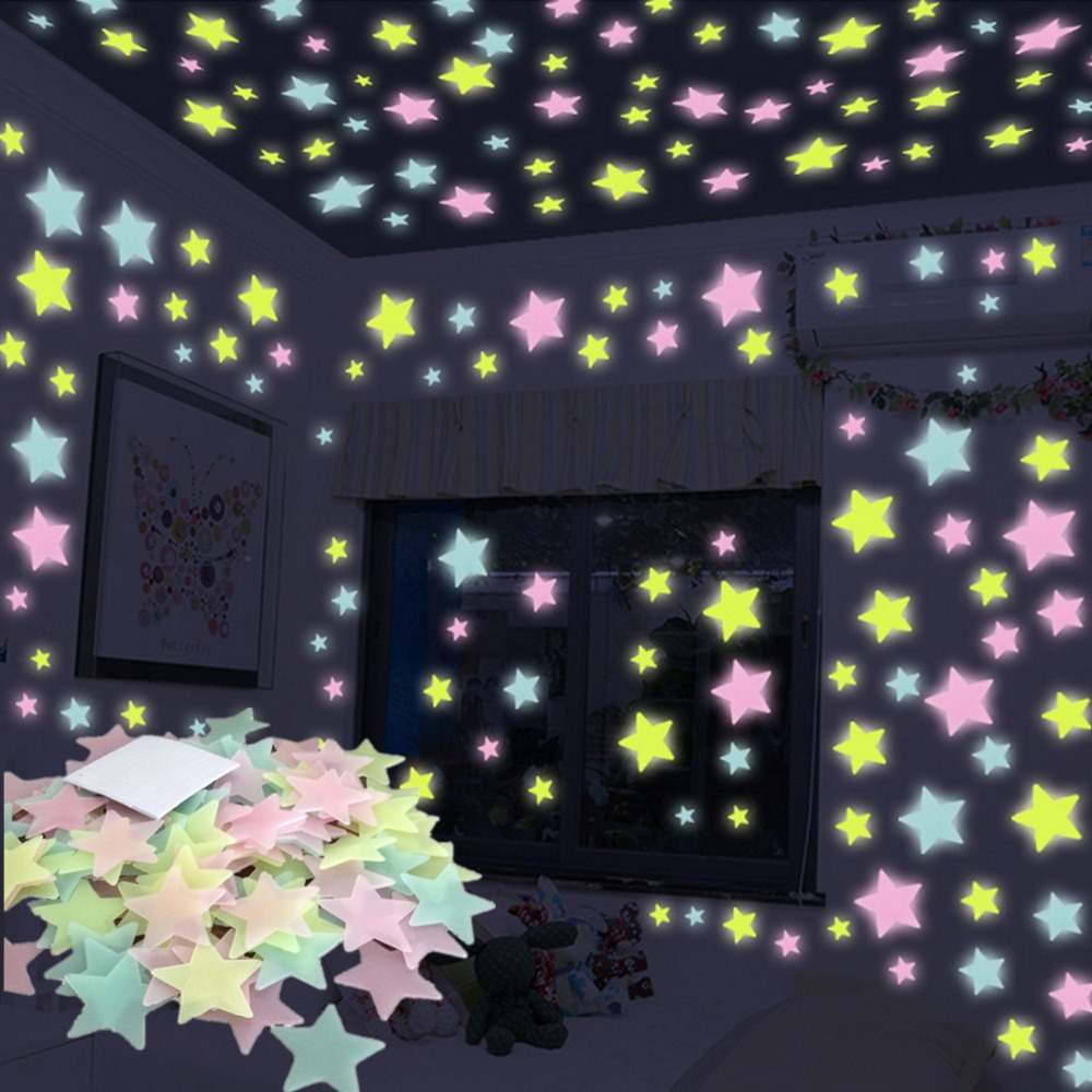 100 pcs 3D Noite Estrelas Luminosas Adesivos Brilham No Escuro Brinquedos para Crianças Quarto Decoração de Natal Presente de Aniversário