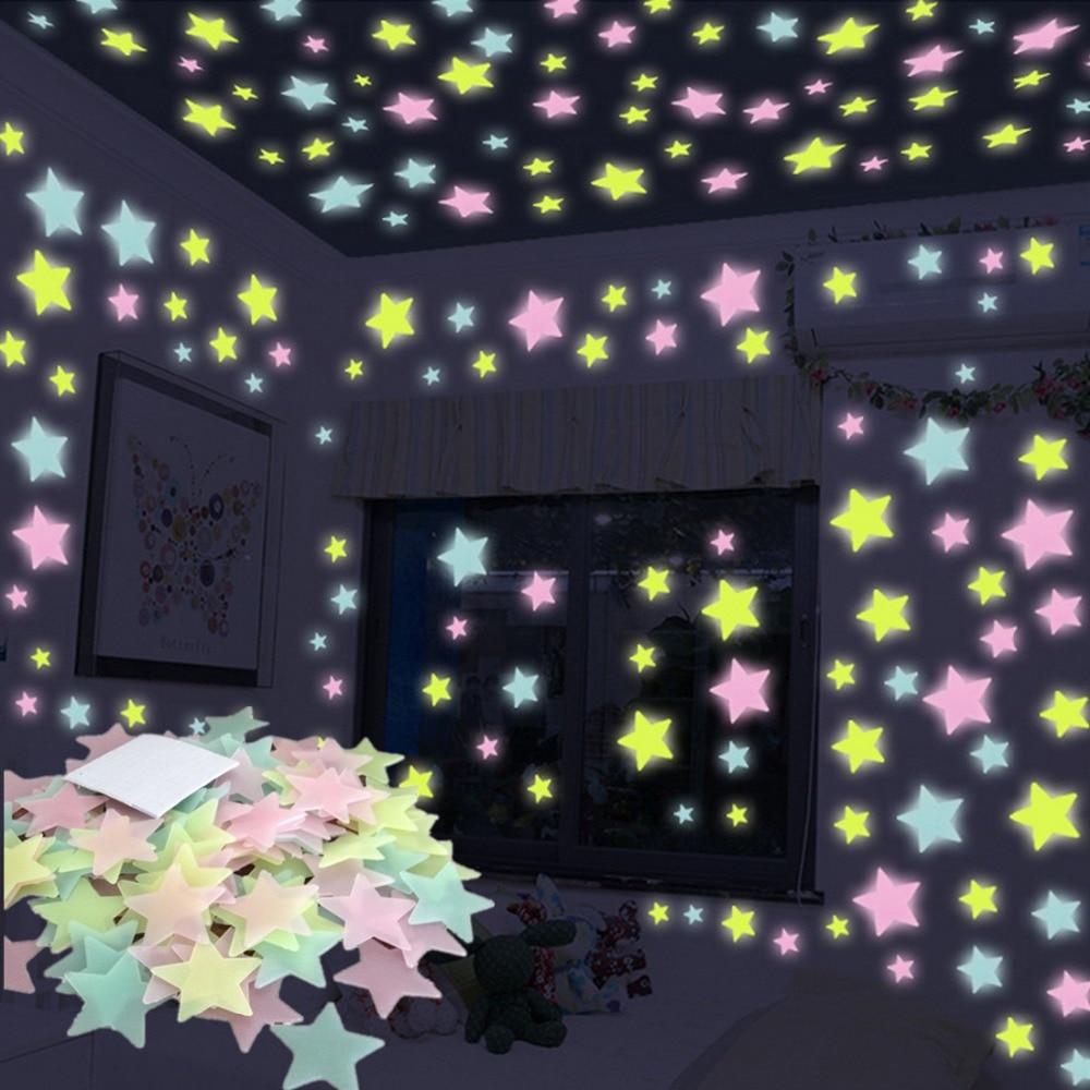 100 pcs 3D di Notte Stelle Luminose Adesivi Glow In The Dark Giocattoli per I Bambini Camera Da Letto Della Decorazione di Natale Regalo Di Compleanno