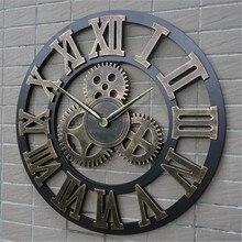 Rétro industriel engrenage à vent bois horloge murale vintage style européen salon grand classique doré chiffre romain horloges à la maison
