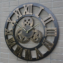 Retro industrial wind gear wood Wall clock vintage European style living room large classic golden roman numeral home clocks