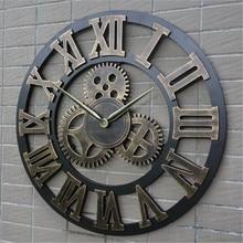 Retro vento industrial engrenagem relógio de parede madeira do vintage estilo europeu sala estar grande clássico ouro numeral romano casa relógios