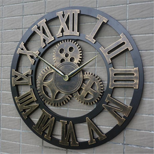 retro industrial wind gear wooden wall clock vintage European style living room large classic golden roman numeral home clock(China)