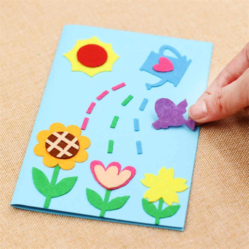 3pcs children handmade 3d diy greeting card toys non woven