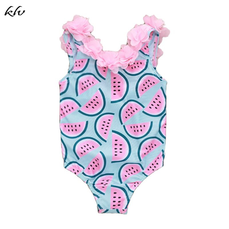 Children Kids Cute Swimsuit Watermelon Fruit Printing Petals Lace Swimsuits Seaside Swimming Pool Clothes Suit