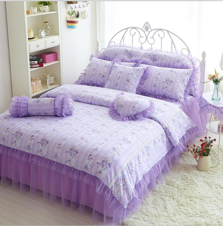 dkny pure escape home purple pink lace bedspread princess bedding set cover queen king 7pcs wedding bed