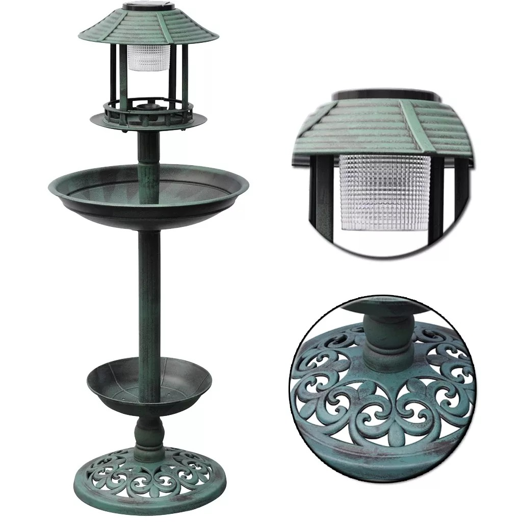 Vidaxl Rechargeable Fountain Green Bird Bath Solar Lamp Yard Garden Light Path Lighting Landscape Path Lawn Yard Solar Lighting