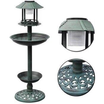 Vidaxl Rechargeable Fountain Green Bird Bath Solar Lamp Yard Garden Light Path Lighting Landscape Path Lawn Yard Solar Lighting