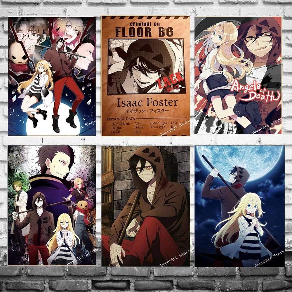 Satsuriku no Tenshi Angels Of Death, аниме, Картина на холсте, винтажная Настенная картина, плакат из крафт-бумаги, наклейки на стену, украшение для дома
