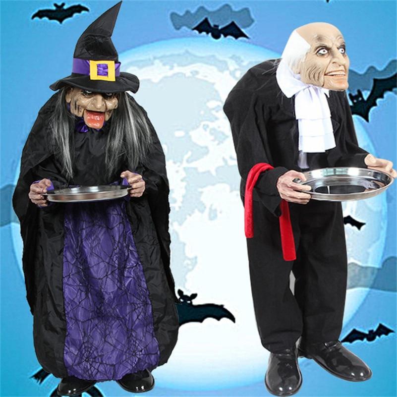 Halloween accessoires drôles debout hommes/femmes demander de l'argent Halloween décoration effrayant yeux horreur voix maison ornements poupée hantée