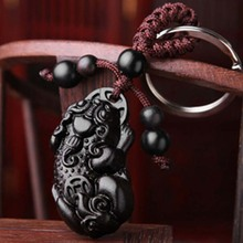 New Fashion 1 keychain troops black ebony car key ring Trinket Crafts Key holder hangings Bag pendant key chain gift