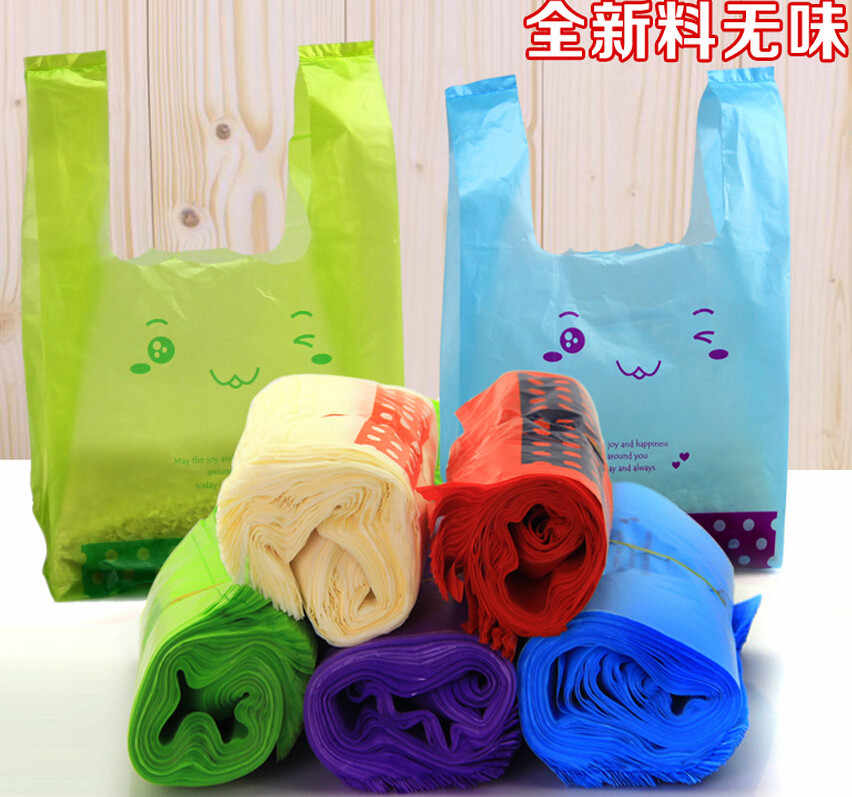 Smile large plastic bags shopping bag with handle for food takeout vest vest pocket Supermarket Shopping plastic pouch bag