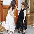 Das crianças do Verão Meninas Coreano Vestido de Seda Da Princesa Estilo Hot Crianças Roupa Do Laço Preto Branco