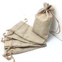 Sacs en toile de Jute Vintage, 5 pièces, sacs à cordon d'emballage pour cadeaux, cadeaux, fête de mariage AA8084