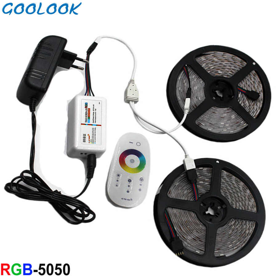 Lampu LED Strip RGB SMD 5050 RGBW LED RGB Pita Tahan Air Emitting Dioda Cahaya Tape Pita Garis DC 12 V RGB Controller Set