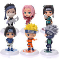 (6 pçs/lote) Naruto Figura Set Toy PVC Estatueta Edição Naruto Q Versão Action Figure Toy Anime Cosplay Presente Collectibles