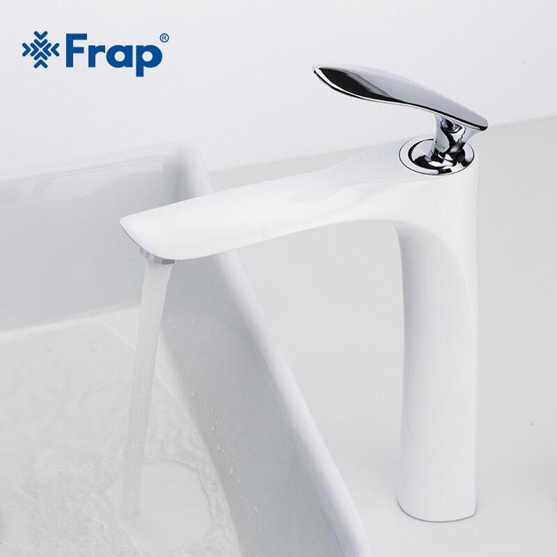 FRAP высокий латунный белый и хромированный смеситель для ванной комнаты с одной ручкой смесители для ванной комнаты горячая холодная вода с...