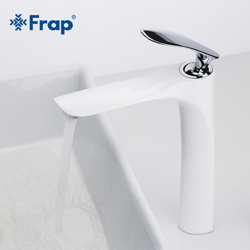 FRAP Tall Brass White And Chrome Finish Bathroom Faucet Single Handle Bathroom Faucets Hot Cold Water Mixer Sink Faucet Y10097