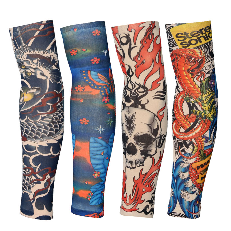 20 Colors 2pcs Cycling Sports Tattoo UV Block Cool Arm Sleeves Armwarmer Cover Sun Protection Skull Bike Bicycle Arm Warmer arsuxeo luminous reflective uv protection arm sleeves elbow support 2pcs