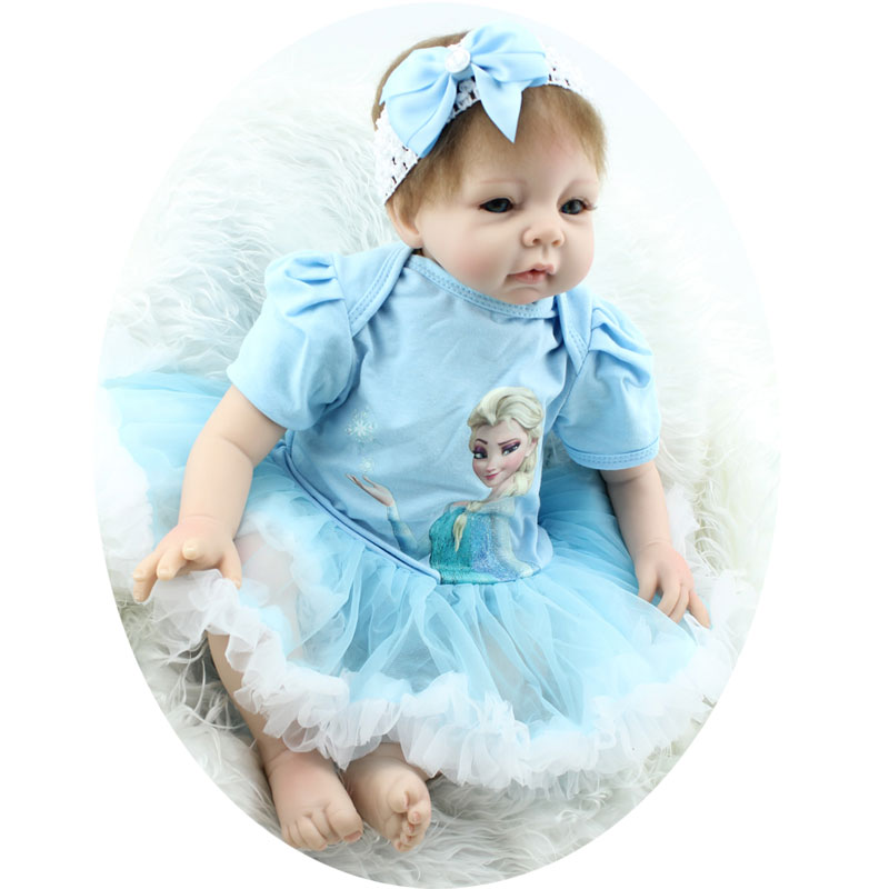 Lovely Girl Baby 22inch Soft Silicone Reborn Doll Toys Handmade Lifelike BeBe Bonecas Realistic Newborn Babies Dolls Brinquedos hot sale 2016 npk 22 inch reborn baby doll lovely soft silicone newborn girl dolls as birthday christmas gifts free pacifier
