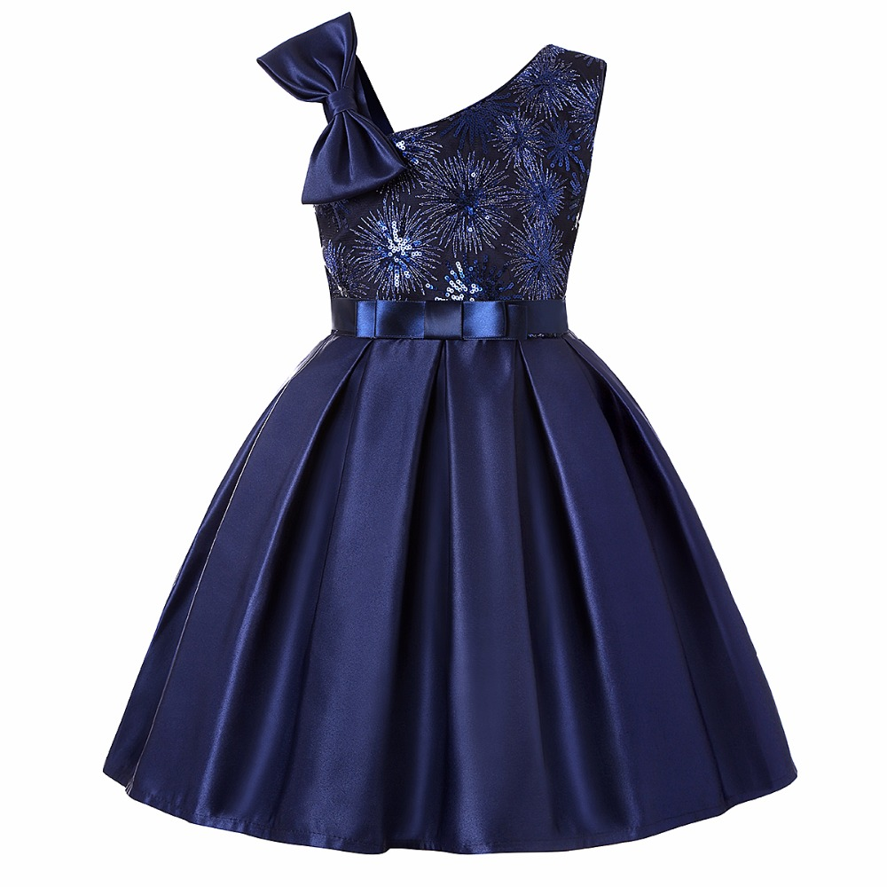 Dark Blue Kids Tutu Birthday Princess Party Dress for Girls Infant Lace Bow Children Elegant Dress for Girl Baby Girls Clothes 2017 new high quality girls children white color princess dress kids baby birthday wedding party lace dress with bow knot design