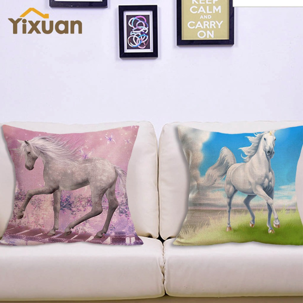 fashion unicorn linen blend cushion cover brief style horse home decorative sofa couch pillow covers square