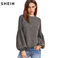 SheIn Women Tops And Blouses New Fashion Women Shirt Ladies Tops Grey Keyhole Back Lantern Sleeve