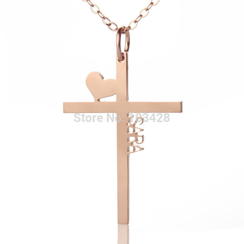 Personalized initial cross necklace latin cross charm jewelry heart personalized initial cross necklace latin cross charm jewelry heart cross pendant rose gold color name necklace for couples in chain necklaces from jewelry aloadofball Gallery