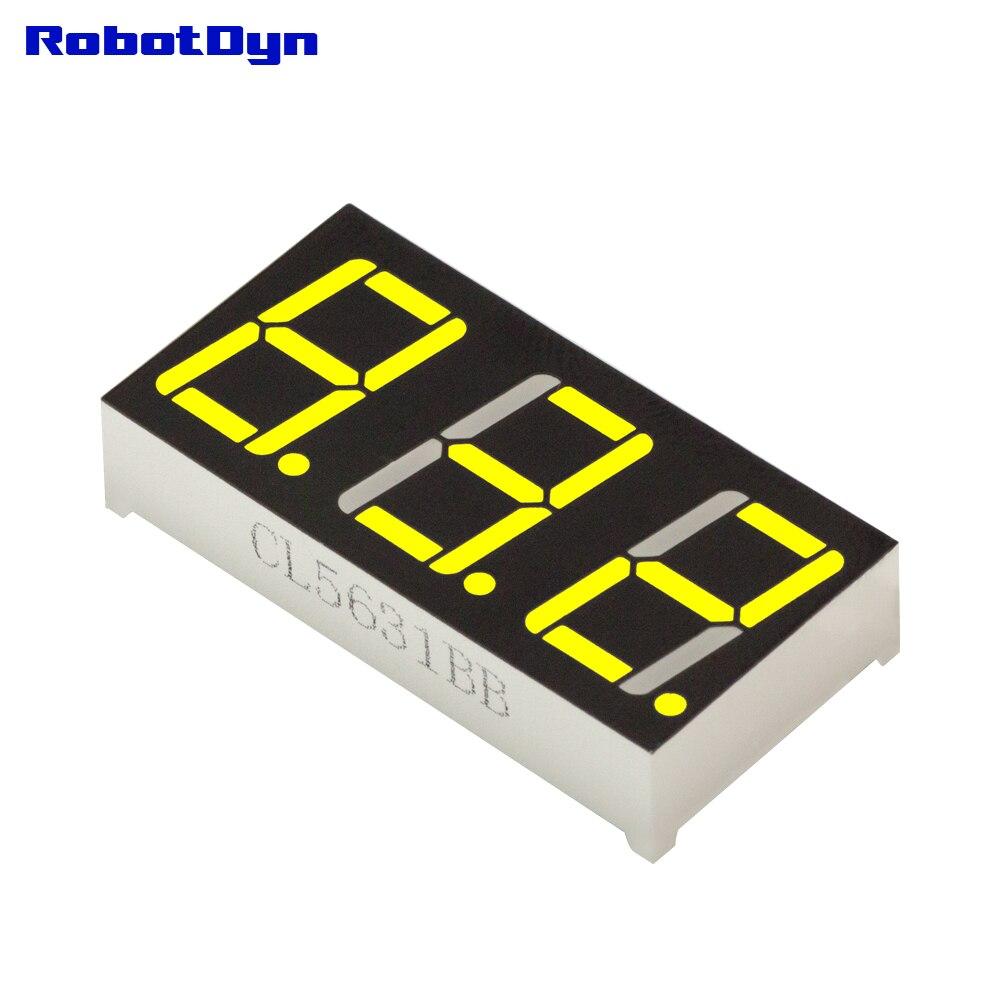 5pcs = 3-Digit 7-segments LED Display tube, decimal dots, YELLOW, disp. size 38x19mm, 0.56