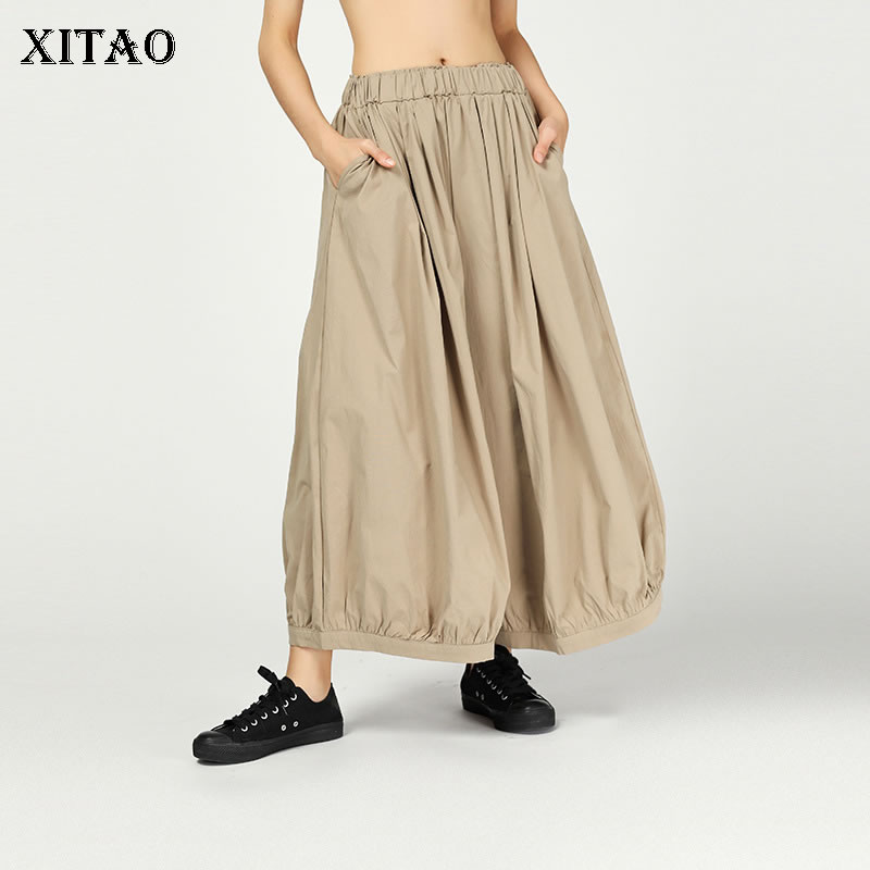 [XITAO] Women 2019 Spring Summer New Casual   Wide     Leg     Pants   Female Solid Color Elastic Waisted Flat Ankle-length   Pants   DLL3268
