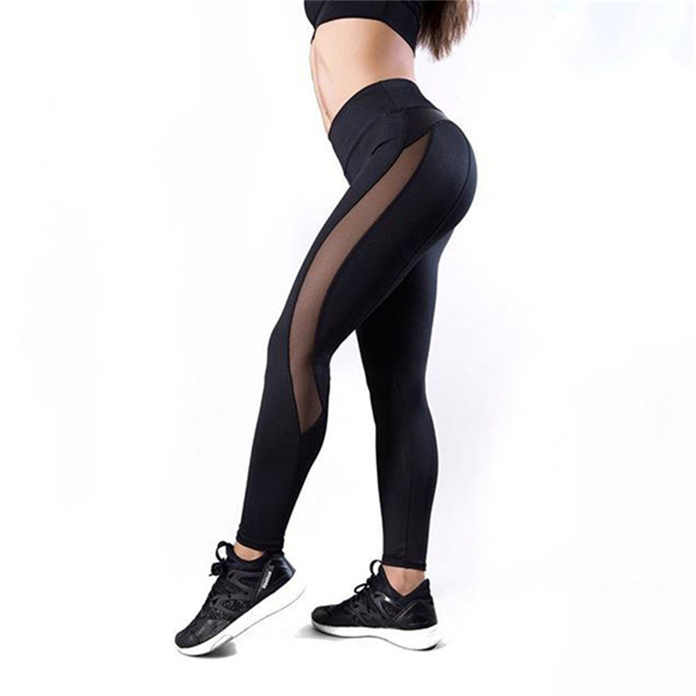 Black Fitness Legging Women Heart Workout Legginngs Femmle Mesh And PU Leather Patchwork Leggings Solid Pants 4