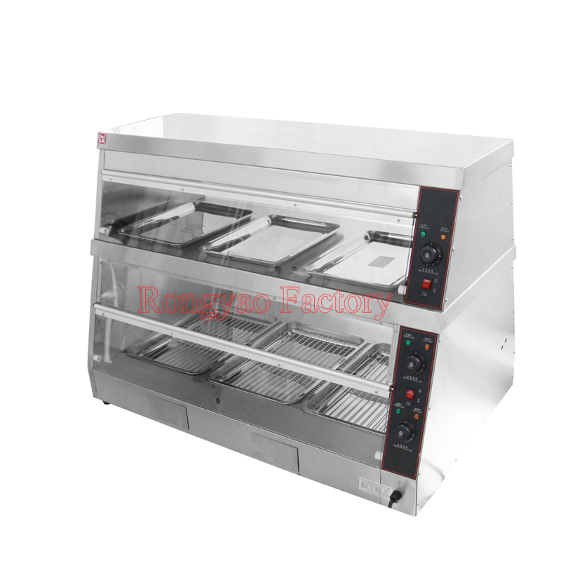 RY DH 6P Electric food potato warmer stainless steel display showcase with 2 shelves|showcase|showcase display|  - title=