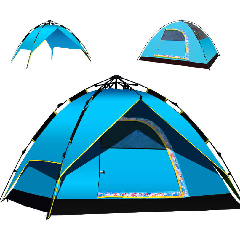 Multipurpose Double Layer 4 Season Tent, Quick Opening 190T Polyester Fabric Fiberglass Pole 3-4 Person Tent for Camping Outdoor high quality outdoor 2 person camping tent double layer aluminum rod ultralight tent with snow skirt oneroad windsnow 2 plus