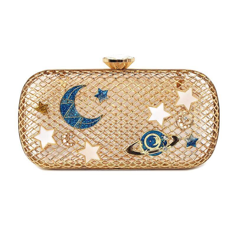 Diamonds Hollow Out  Women clutch bag Shiny Star Moon Evening bag ladies Handbags Golden Metal Chain messenger bag Purse ST135