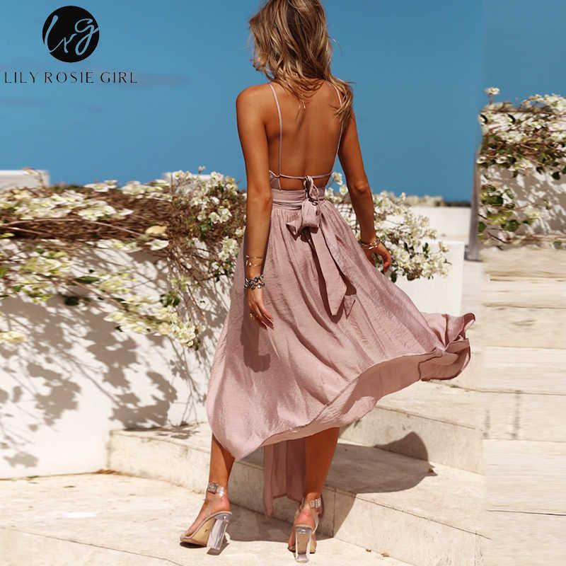 Lily Rosie девушка без рукавов Холтер сексуальные макси платья 2019 Лето спинки вечерние длинные платья женские Сплит элегантные пляжные красные платья