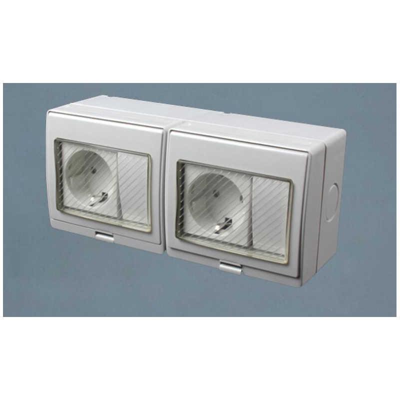 Wodoodporne ściany podwójne gniazdo zasilania, odporne na warunki atmosferyczne EU/UK/US/uziemione uniwersalne gniazdko elektryczne z 2 przełącznik wciskany