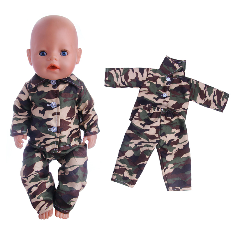 2017 new camouflage lovely pajamas, suitable for zapf43CM dolls, give children the best Christmas gift n1366