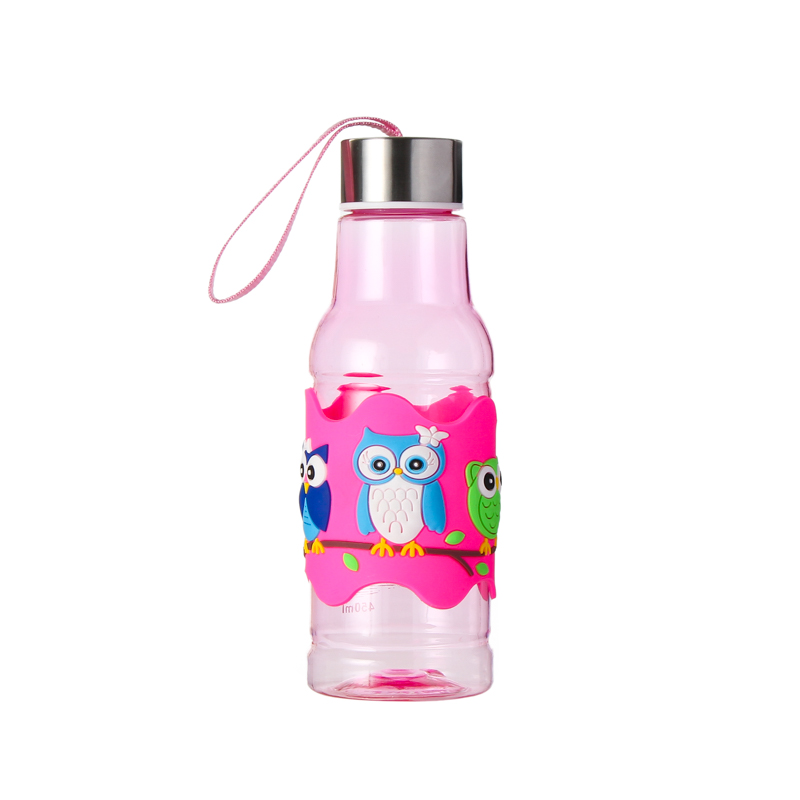 Outdoor Sport Fashion Water Bottle Pink Pvc Embossed
