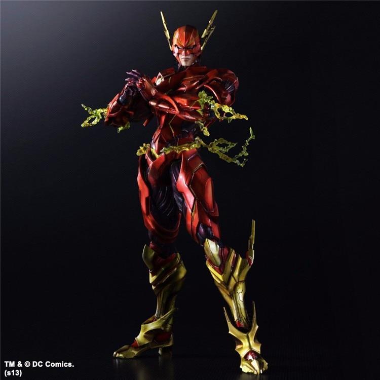 The Flash Play Arts Kai Action Figure Justice League Barry Allen PVC Toy 25cm Anime Movie Model The Flash Playarts Kai Superhero