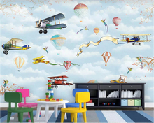 Beibehang custom fashion retro decorative painting wallpaper Aircraft hot air balloon indoor childrens background 3d