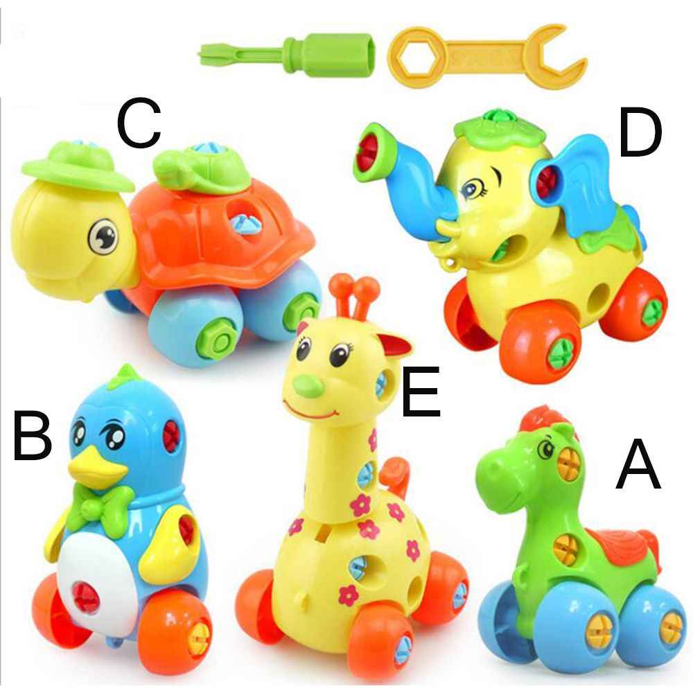 Disassembly Dinosaur Design Puzzle Educational Toys Plastic Assembly Screw Driver Nut Group Installed Toys For Children Jigsaw