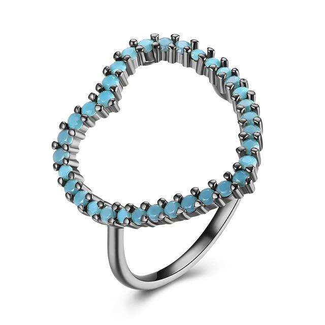 e7f9dbaea5e4 INALIS grande romántica del diseño del corazón de la vendimia turquesa  anillos para las mujeres oro y Negro oro Color boda joyería de traje del  anillo en ...