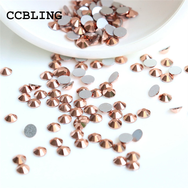 ss3 -ss30 Flat Back Crystal Rose Gold 3d Nail Art crystal decorations ) Non  Hot Fix Glue on rhinestones for nails stone 95417a54c6bb