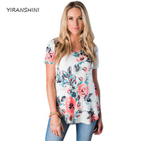 YIRANSHINI 2018 New Spring Short Sleeve Round Neck Floral Printed Womens T Shirt LC250067