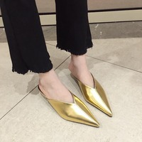 luxury designer closed pointed toe slippers pleated japanned leather sandals women sliders gold/silver mules flip flop C810