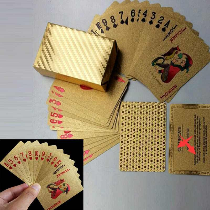 New Golden Playing Cards Deck Gold foil Poker 24K Gold Plastic Waterproof Cards Practical Jokes