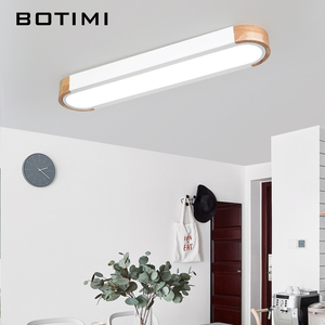 Image 2 - BOTIMI Office 220V LED Ceiling Lights With Metal Lampshade For Living Room Long Shaped Bedroom Wooden Surface Mounted Lighting