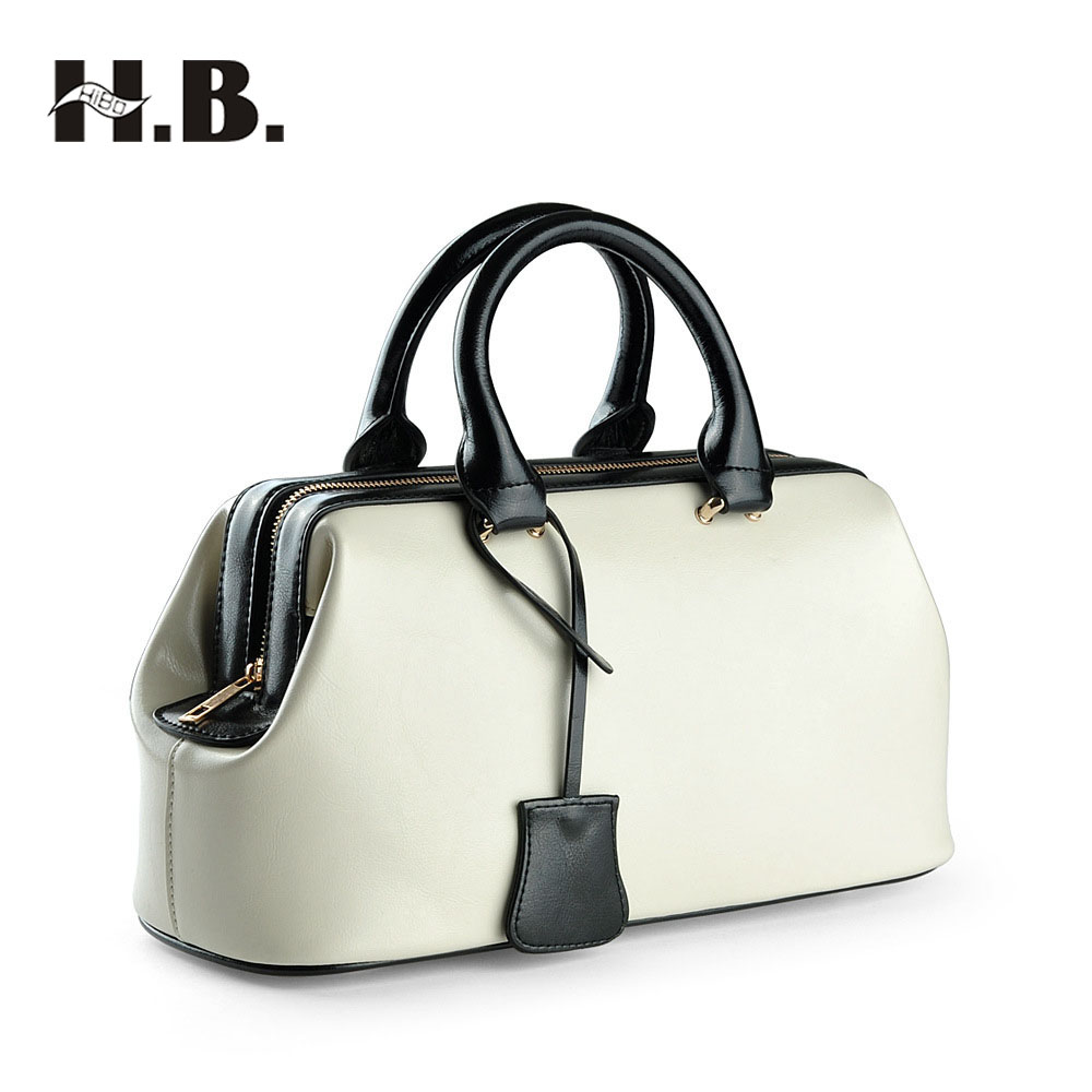 HIBO 2017 Genuine Leather Bag Dollar Price Luxury Handbags Women Bags Designer Famous Brands Vintage Doctor Messenger Bags