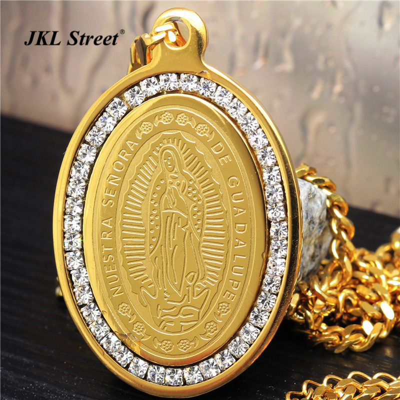 Stainless Steel Gold Iced Out Nuestra Senora Guadalupe
