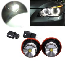 2Pcs 3W LED Angel Eyes Halo Ring Light Lamp Bulbs Marker For BMW E39 X5 E60 E63 E64 E53 Headlight White 6000K