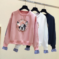 Spring 2019 Korean Style Woman Long Sleeve Crewneck Cute Dog Pattern Casual Loose Sweatshirt Girl Student Pink Hoodies Pullovers